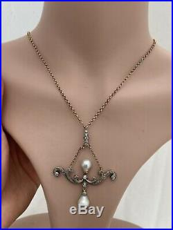 14ct Gold & Silver Victorian Natural Pearl & Diamond Large Pendant On Chain