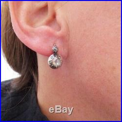 14ct gold old mine rose cut diamond earrings, large Victorian