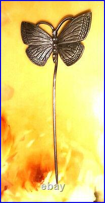 14k Gold Sterling Silver Butterfly Stick Hat Pin Large Antique Victorian