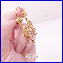 18ct gold old cut diamond earrings, Etruscan large Victorian