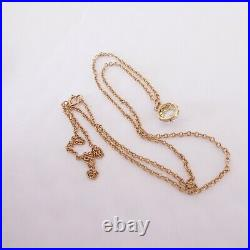 18ct gold rose cut diamond pendant on 9ct gold chain, large Victorian