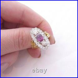 18ct gold ruby diamond ring, Victorian style large cluster