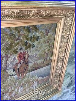 1903 Very Large Chunky Ornate Antique Gold Rococo Picture Frame The Hunt Scene
