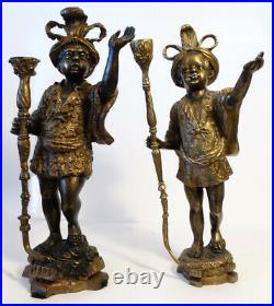 2 Shocking and Stunning Large Blackamoor Bronze gilded Candle Holders Antique