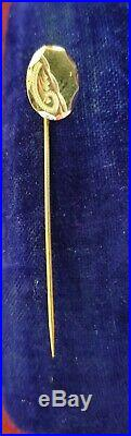 2 x Antique Tie Pins 1 Gold 1 Large Ruby & 9ct Victorian Yellow Red Wedding
