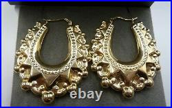 9ct Gold Creole Hoop Earrings 48mm Large Size 1.88 Victorian Spiked Hoop