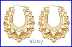 9ct Gold LARGE Oval Victorian Style Spiked Creole Hoop Earrings