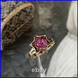 9ct Gold Ruby Solitaire Ring 1.50ct, Vintage Gold Victorian Star Style UKL 3/4
