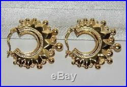 9ct Gold Spiked Large Victorian Style Creole Hoop Earrings SOLID 9K GOLD