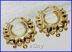 9ct Gold Spiked Large Victorian Style Creole Hoop Ladies Earrings