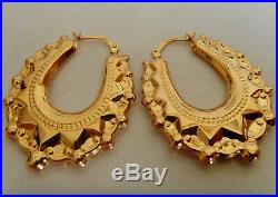 9ct Gold Victorian Style Spike & Ball Creole Earrings Large 36mm Drop Length