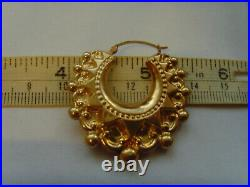 9ct Gold Victorian Style Spike & Ball Creole Earrrings Large Size & Good Weight