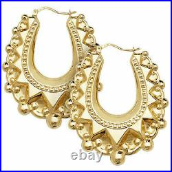 9ct Yellow Gold Large Victorian Gypsy Style Creoles Earrings UK Jewellers