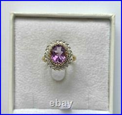 9ct Yellow Gold Victorian Oval 2.22ct Amethyst and Diamond Dress Ring Size L