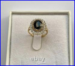 9ct Yellow Gold Victorian Oval 3.2ct Sapphire and Diamond Dress Ring Size L