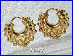9ct Yellow Gold Victorian Style Large Gypsy Spiked Creole Hoop Earrings