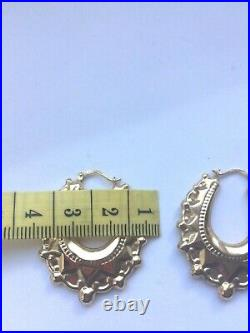 9ct gold large victorian style earrings