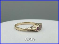 9k 9ct yellow gold ruby and real diamond Victorian style ring size UK L US 6