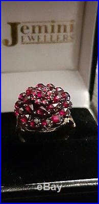 A Beautiful Antique Victorian Large 15ct Gold Bohemian Garnet Cluster Ring