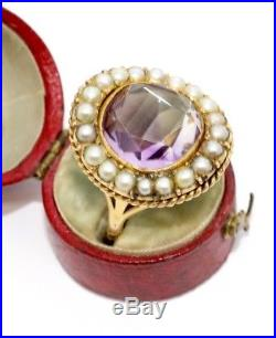 A Fine Large Antique Georgian Victorian 18ct Gold Amethyst & Pearl Cluster Ring