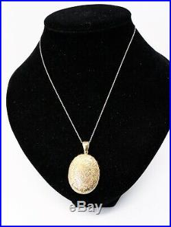 A Great Large Antique Victorian 15ct Yellow Gold Floral Engraved Locket Pendant