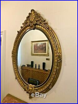 A Huge Large Ornate Gilt Antique Reproduction Victorian Oval Wall Mantle Mirror