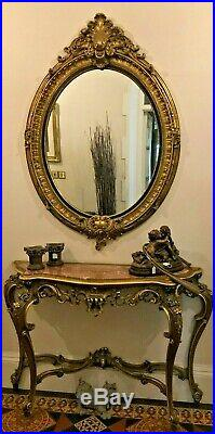 A Huge Large Ornate Gilt Antique Reproduction Victorian Oval Wall Mantle Mirror Large Victorian Gold