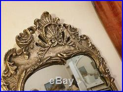 A Lovely Large Vintage Hand Carved Silver/Gold Giltwood Wall Mirror Circa 1940s