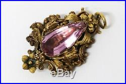 A Nice Large Antique Victorian 18ct Yellow Gold Pink Topaz Foiled Back Pendant