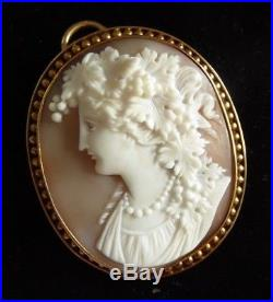 A Superb Victorian 15ct Gold Shell Cameo of Bacchante Masterpiece Large 15.7g