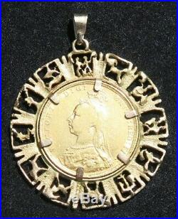 ANTIQUE VICTORIAN 1889 22ct GOLD FULL SOVEREIGN & PENDANT LARGE 9ct MOUNT 12.1g