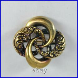 Antique 14K Solid Yellow Gold Large Size Victorian Love Knot Repousse Brooch Pin
