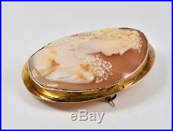 Antique 9ct Gold Large Victorian Carved Shell Cameo Brooch, c1880, Roman Goddess