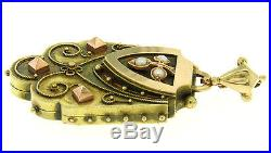 Antique Etruscan Victorian Large 14k Yellow Rose Gold Seed Pearl Locket Pendant