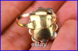 Antique Large Coral And Jade Victorian Gold Ring 1890