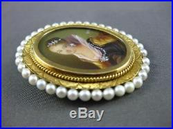 Antique Large Diamond & Pearl 18kt Yellow Gold Victorian Lady Pin Pendant #2969