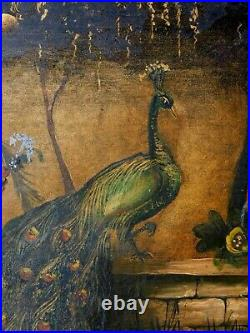 Antique Large Tole Tray Victorian Hand Painted Gilded peacock McLevy fountain