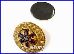 Antique Large Victorian 15ct Gold Garnet Mourning Locket Brooch GIFT BOXED