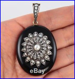 Antique Large Victorian 9Ct Gold, Onyx And Pearl Pendant / Locket c 1880's