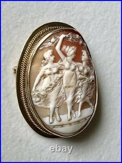 Antique Large Victorian Dancing Women Cameo Brooch Pin 10K Yellow Gold 16.4g