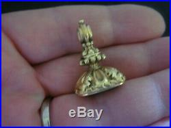 Antique Large Victorian Natural Citrine Winged Coronet Gold Case Fob Seal