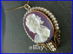 Antique Large Victorian Pearl 14kt Rose Gold Lady Cameo Brooch Pendant #1959