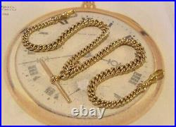 Antique Pocket Watch Chain 1890s Victorian Large 12ct Gold Filled Albert & T Bar