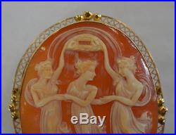 Antique Three Graces 14k Gold Cameo Brooch Pin Victorian Large Size