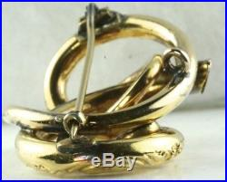 Antique Victorian 10k Gold Large Love Knot Pin Brooch