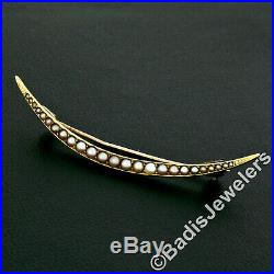 Antique Victorian 14K Yellow Gold Graduated Seed Pearl Large Crescent Brooch Pin