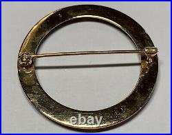 Antique Victorian 14K Yellow Gold Large Black Jet Mourning Circle Pin / Brooch