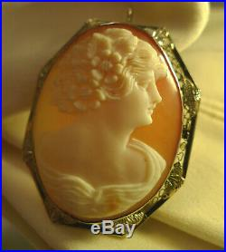Antique Victorian 14k Gold Estate Shell Cameo Brooch Pin Pendant Large C Clasp