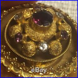 Antique Victorian 14k Yellow Gold Ornate Large Locket Brooch Pin