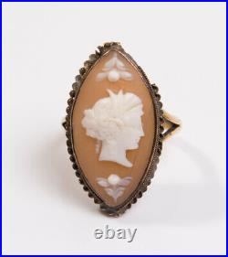 Antique Victorian 18ct Yellow Gold & Shell Cameo Ring